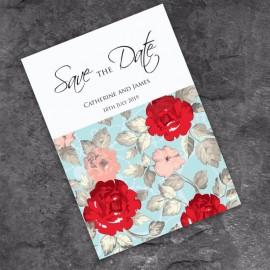 Retro Rose Save the Date Card