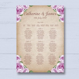 Rosebud Wedding Table Plan