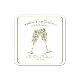 Signature Gold Wedding Coaster - Pack of 24