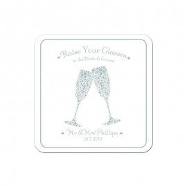 Signature Silver Wedding Coaster - Pack of 24