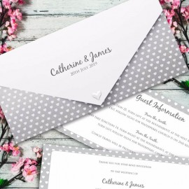 Silver Polka Dot Hearts Wedding Invitation