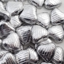 Silver Milk Chocolate Foiled Mini Hearts - 500g Pack 100 pcs