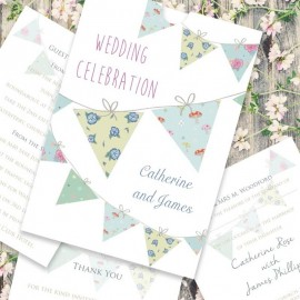 Yellow wedding invitations paper themes wedding invites bunting fun wedding invitation stopboris Gallery