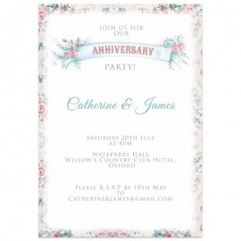 Vintage Flowers Wedding Anniversary Invitations