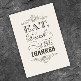 Almond Eat Drink & Be Married Thank You Card
