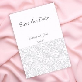 Silver Art Deco Save the Date Card