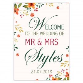 Autumn Flowers Large Welcome Sign