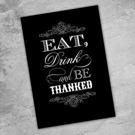 Black Eat Drink & Be Married Thank You Card