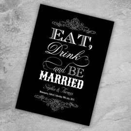 Black Eat Drink & Be Married Save the Date Card