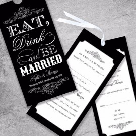 Black Eat Drink & Be Married Wedding Invitation