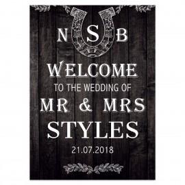 Black Horseshoes Large Wedding Sign