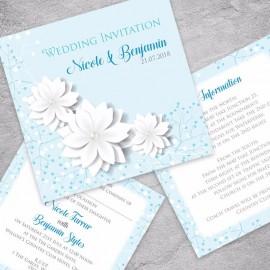 Blue Summer Blossom Wedding Invitation
