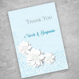 Blue Summer Blossom Thank You Card
