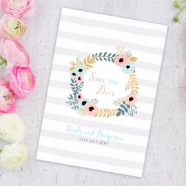 Blue Floral Wreath Save the Date Card