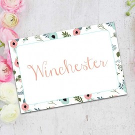 Blue Floral Wreath Table Names - Pack of 10