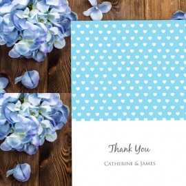 Blue Polka Dot Hearts Thank You Card
