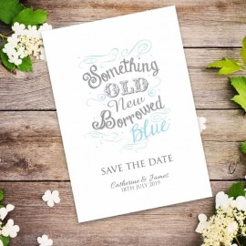 Old New Borrowed Blue Save the Date Card