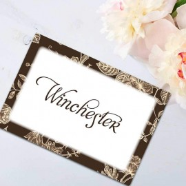 Brown Floral Romance Table Names - Pack of 10