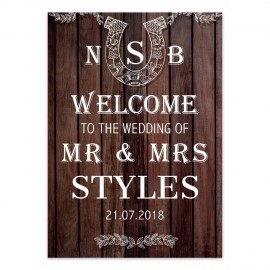 Brown Horseshoes Small Welcome Sign