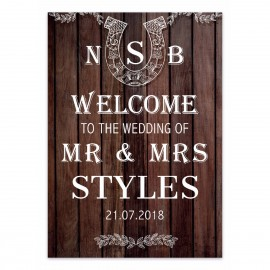 Brown Horseshoes Large Wedding Sign