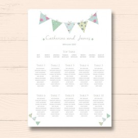 Bunting Fun Wedding Table Plan