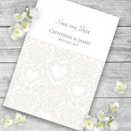 Cream Divine Save the Date Card