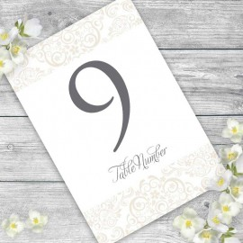 Cream Divine Wedding Table Numbers - Pack of 10