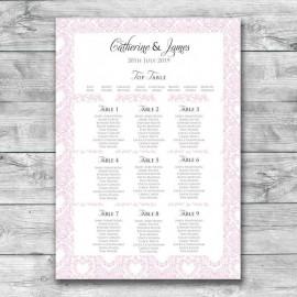 Pink Divine Wedding Table Plan