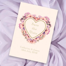 Floral Heart Save the Date Card