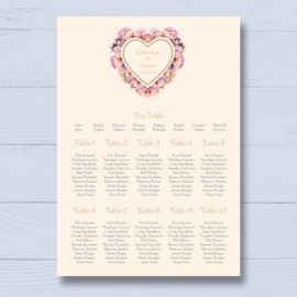 Floral Heart Wedding Table Plan