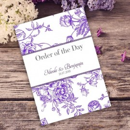 Purple Floral Romance Order of Service