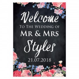 Floral Chalkboard Small Welcome Sign