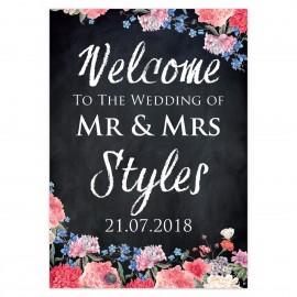 Floral Chalkboard Large Wedding Sign