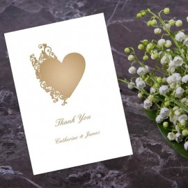 Fluted Heart Thank You Card