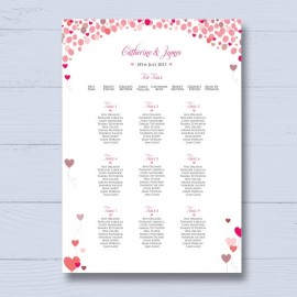 Follow Your Heart Wedding Table Plan