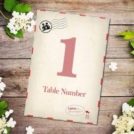 Kiss Kiss Table Numbers - Pack of 10