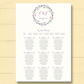 Lavender Wedding Table Plan