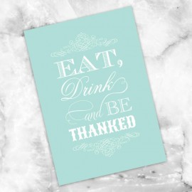 Mint Eat Drink & Be Married Thank You Card