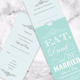 Mint Eat Drink & Be Married Wedding Invitation