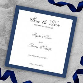Navy Diamante Buckle Save the Date Card