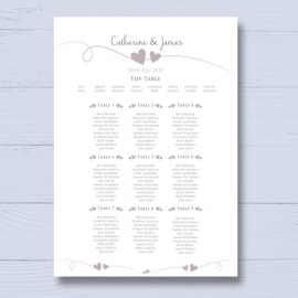 Newlyweds Wedding Table Plan
