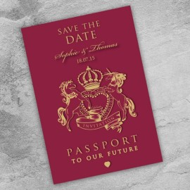 Passport to Love Save the Date Card