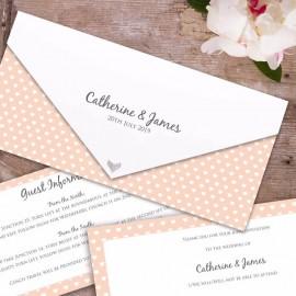 Peach Polka Dot Hearts Wedding Invitation