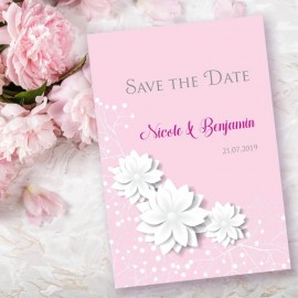 Pink Summer Blossom Save the Date Card