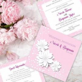 Pink Summer Blossom Wedding Invitation