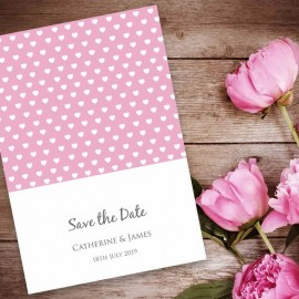 Pink Polka Dot Hearts Save the Date Card
