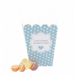 Blue Polka Dot Hearts Sweet Box - Pack of 12