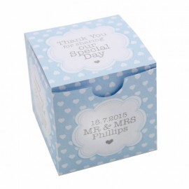 Blue Polka Dot Hearts Favour Box - Pack of 12