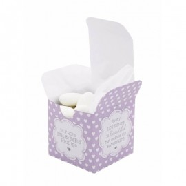 Purple Polka Dot Hearts Favour Box - Pack of 12