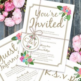 Pretty Posy Wedding Invitation